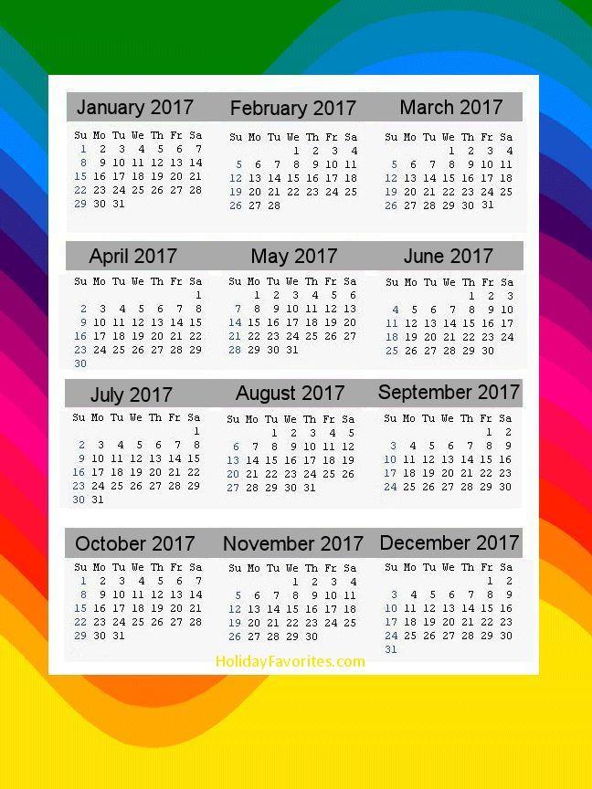 Rainbow 2017 Calendar Page