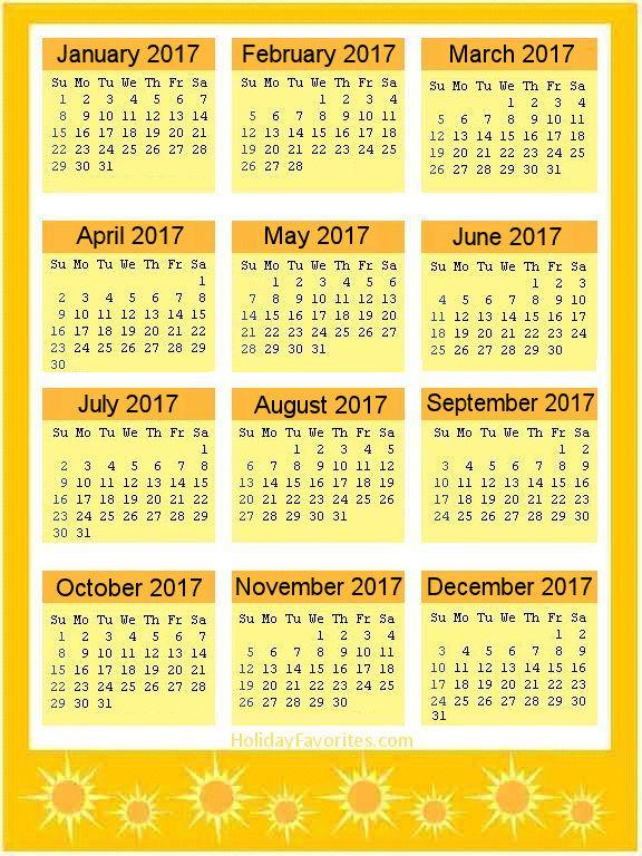 Yellow Sunshine 2017 Calendar Page