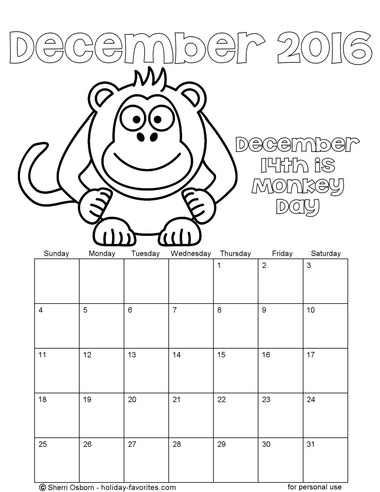 December 2016 Monkey Coloring Calendar Page