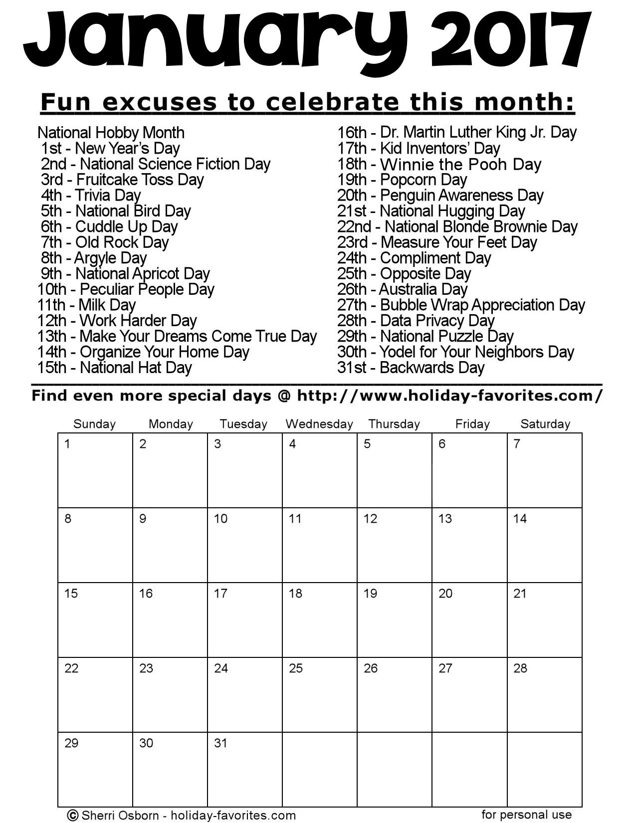 January 2017 printable calendar pages holiday favorites - Family days enero 2017 ...