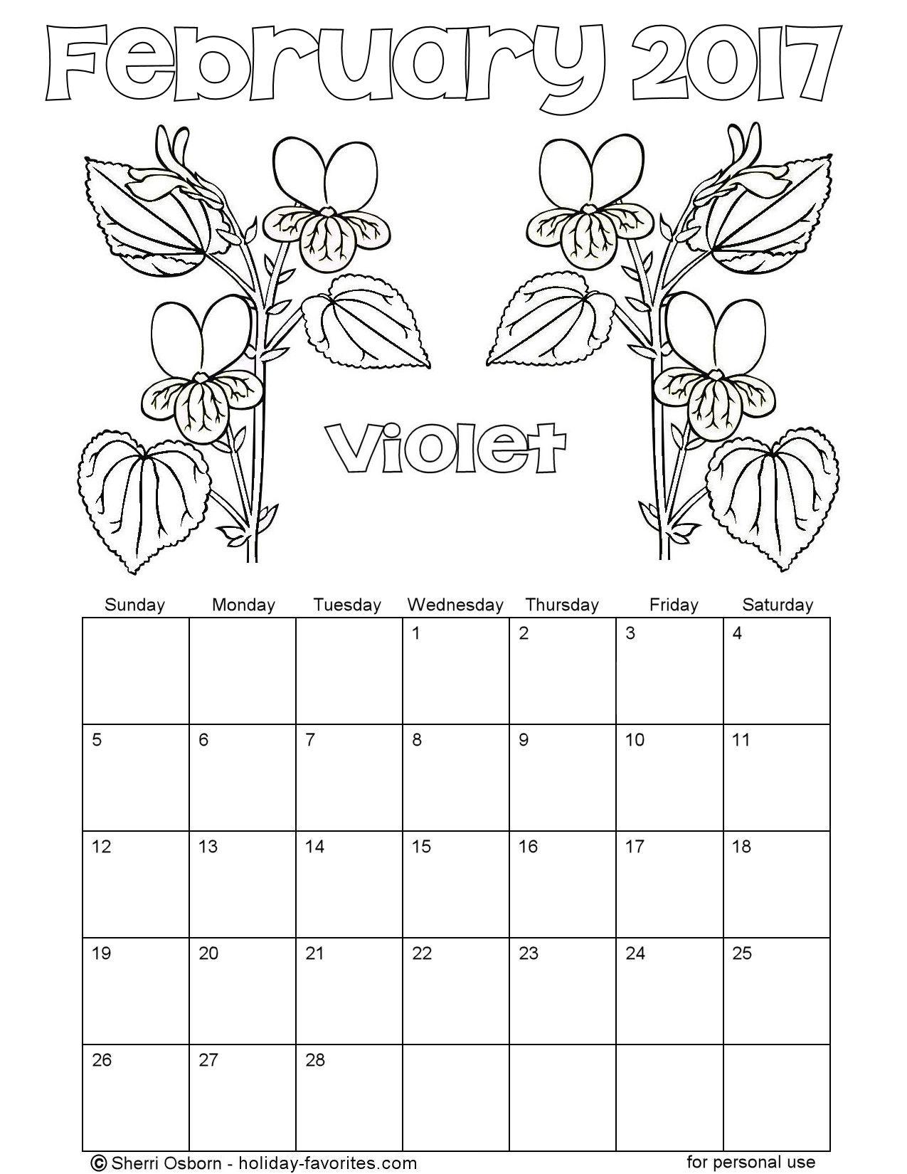 Printable February 2017 Flower Calendar Page