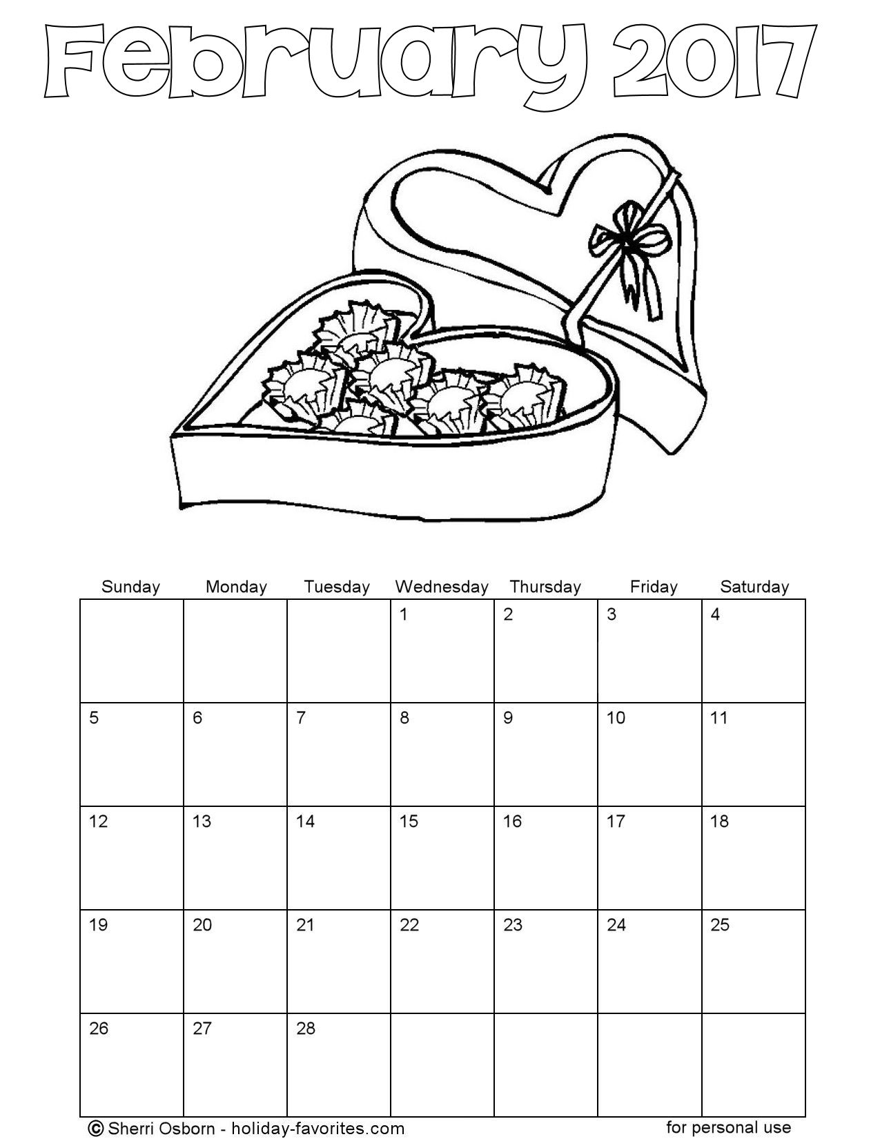 Printable February 2017 Calendars | Holiday Favorites