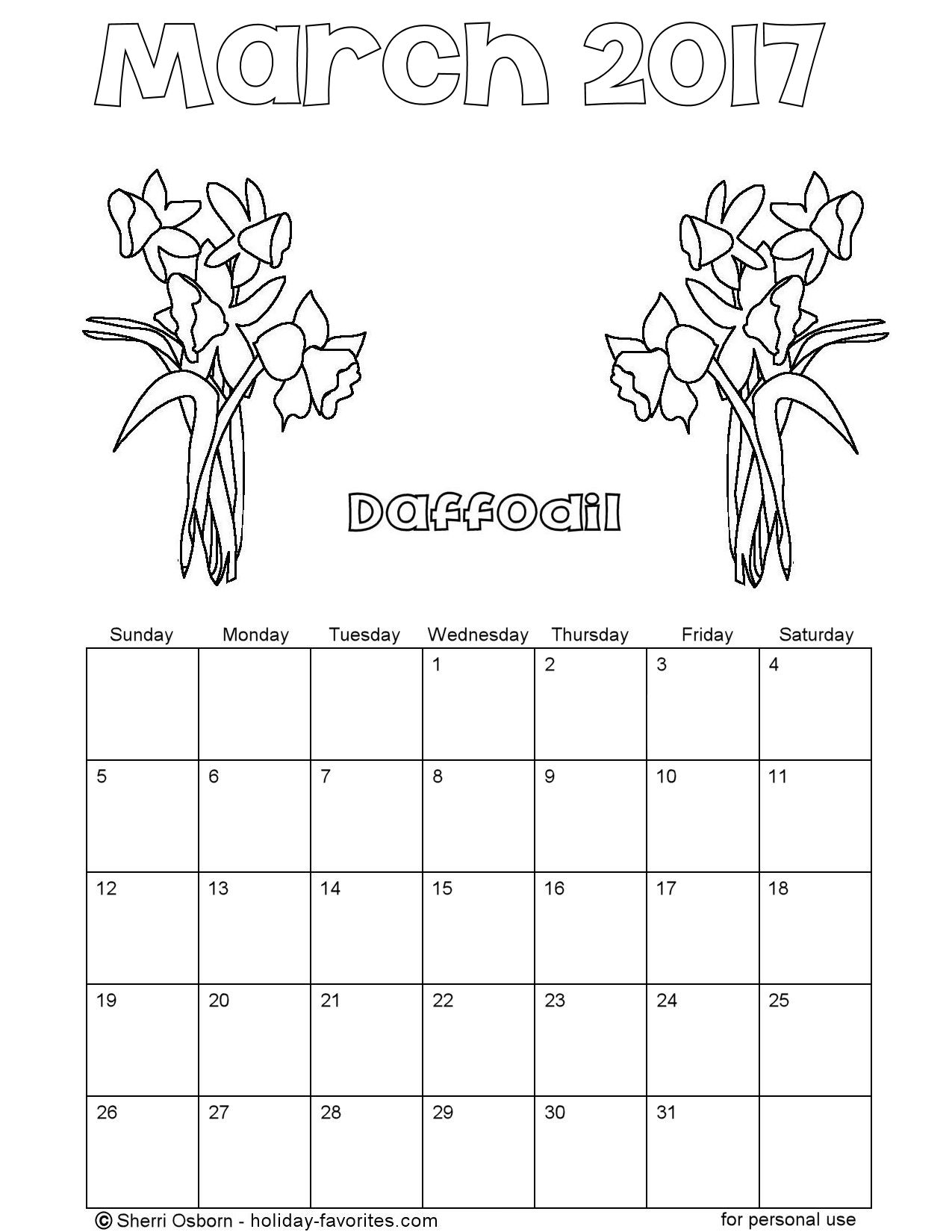 Printable March 2017 Flower Coloring Calendar Page