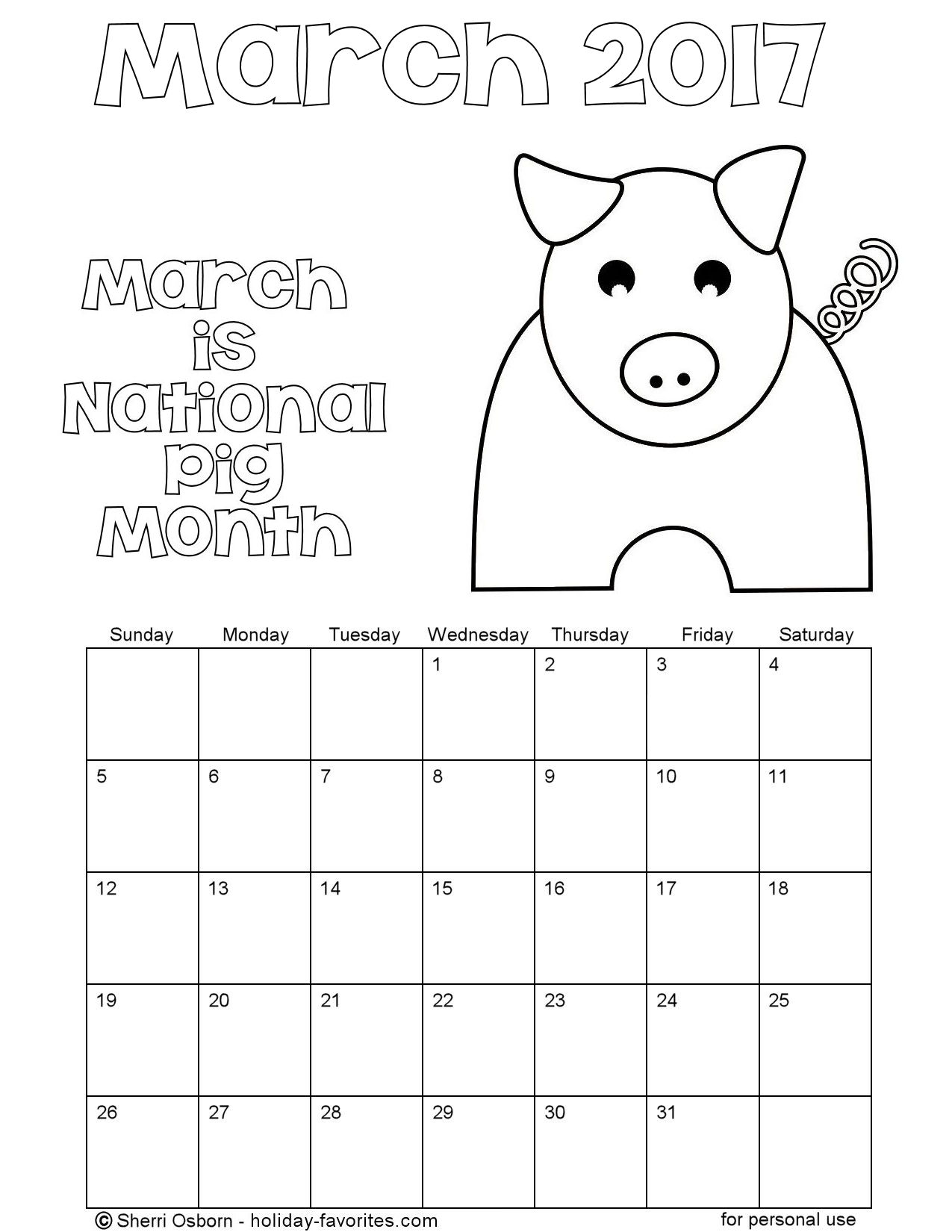 Printable March 2017 Pig Coloring Calendar Page