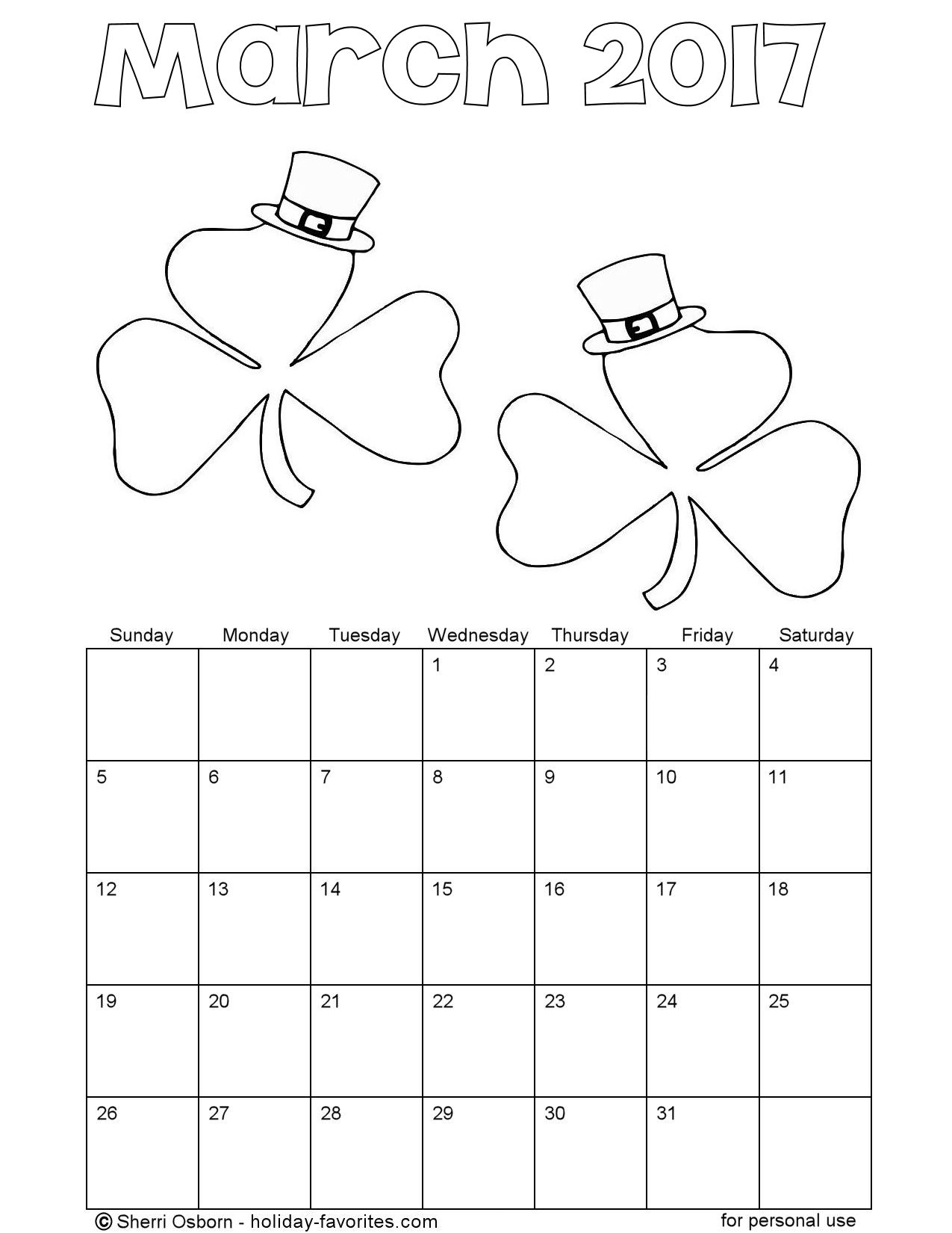 Printable March 2017 Shamrock Coloring Calendar Page