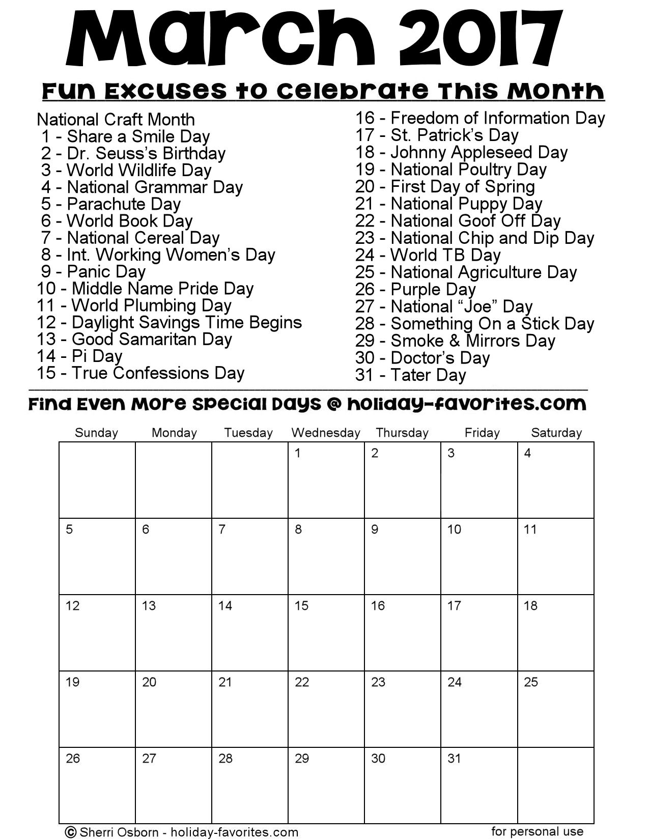 Printable March 2017 Special Days Calendar Page