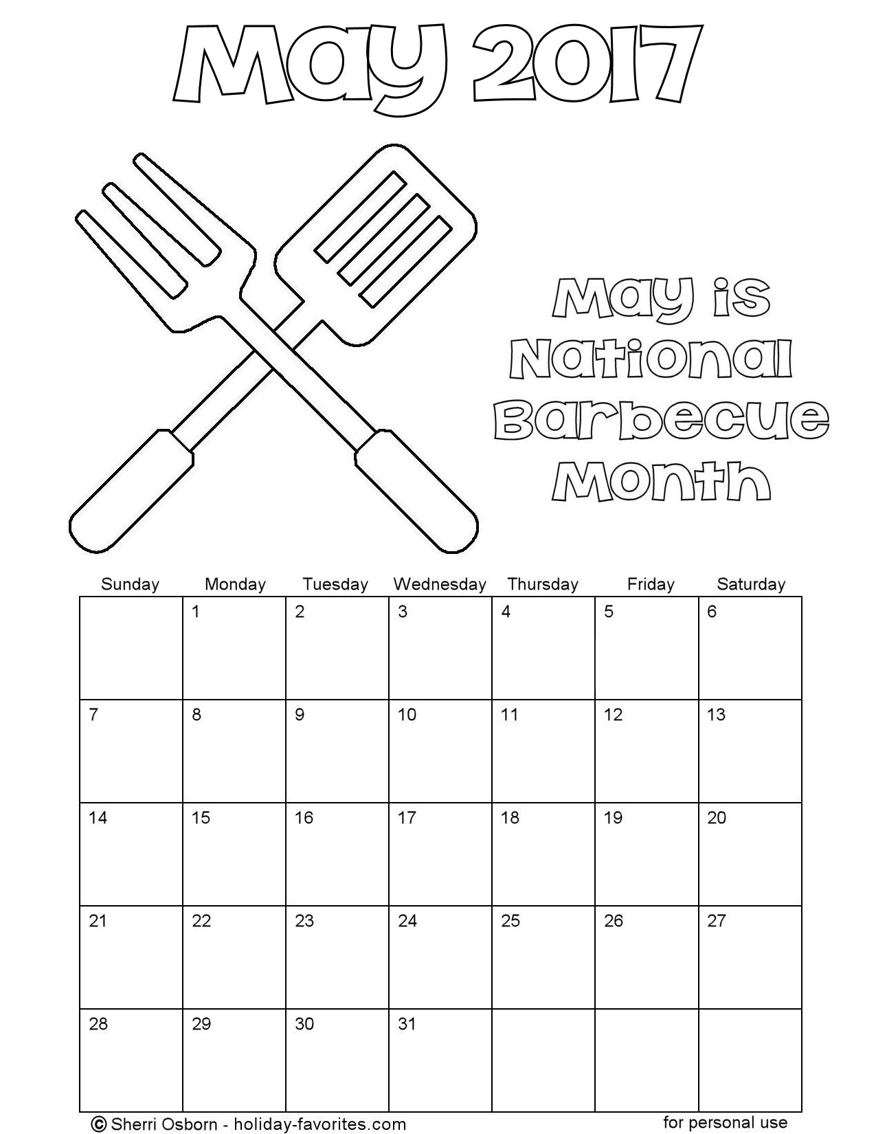 May 2017 Barbecue Calendar Coloring Page