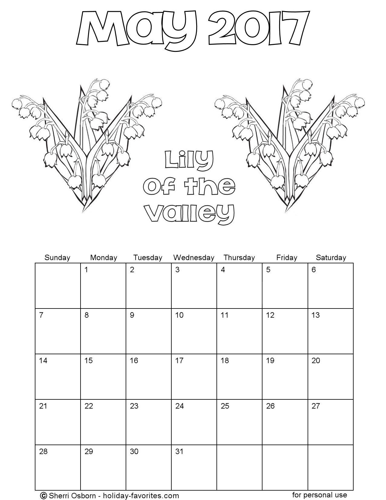 May 2017 Lily-of-the-Valley Calendar Page