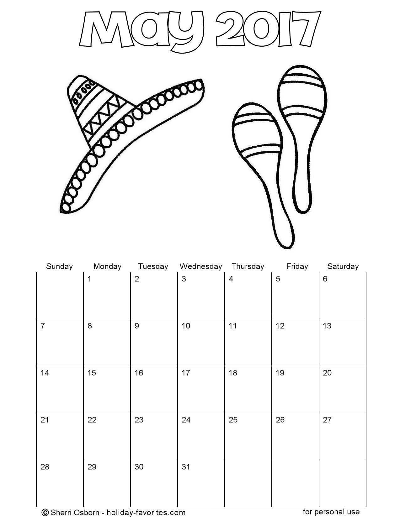 Printable may calendars holiday favorites for May coloring pages printable