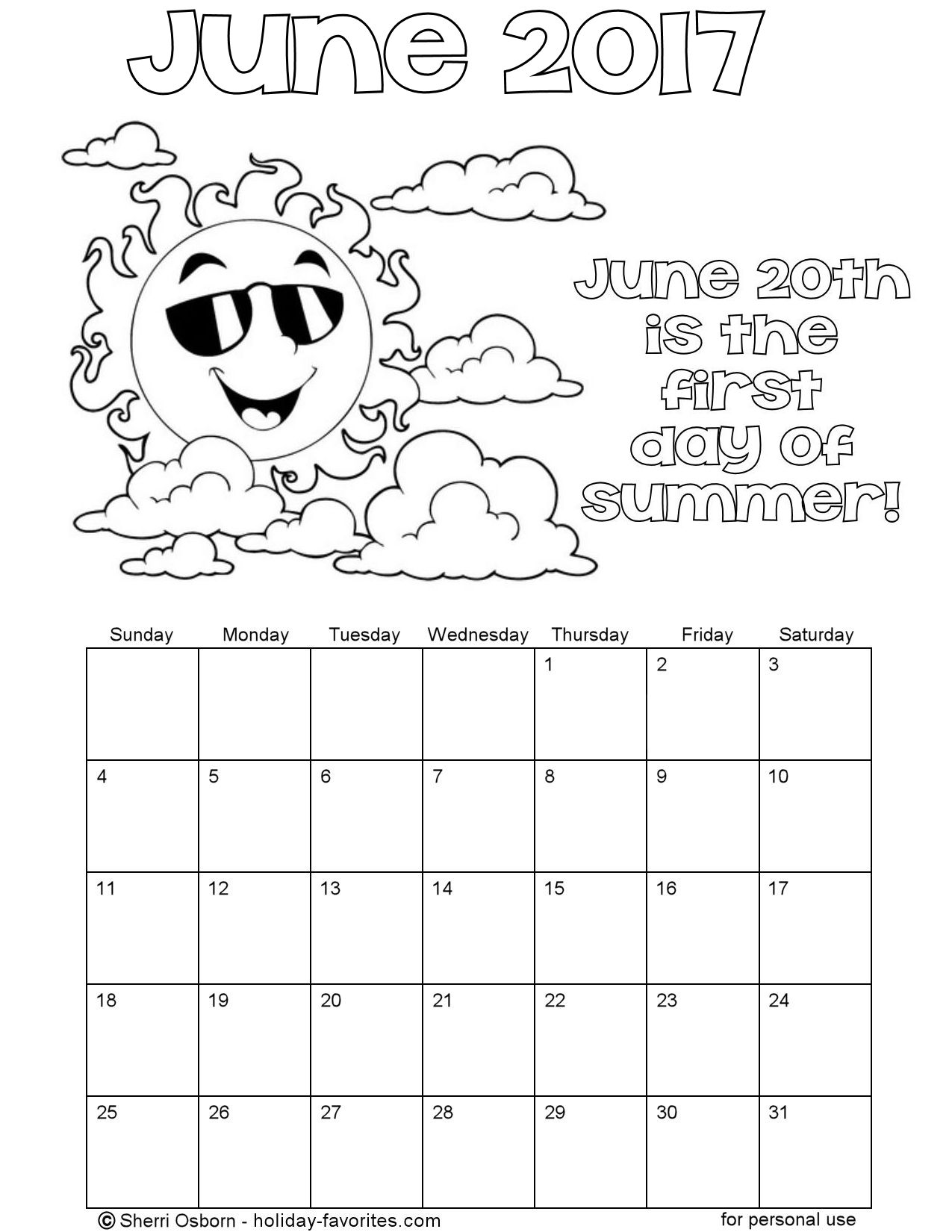 Printable june 2017 calendars holiday favorites for Calendar coloring page