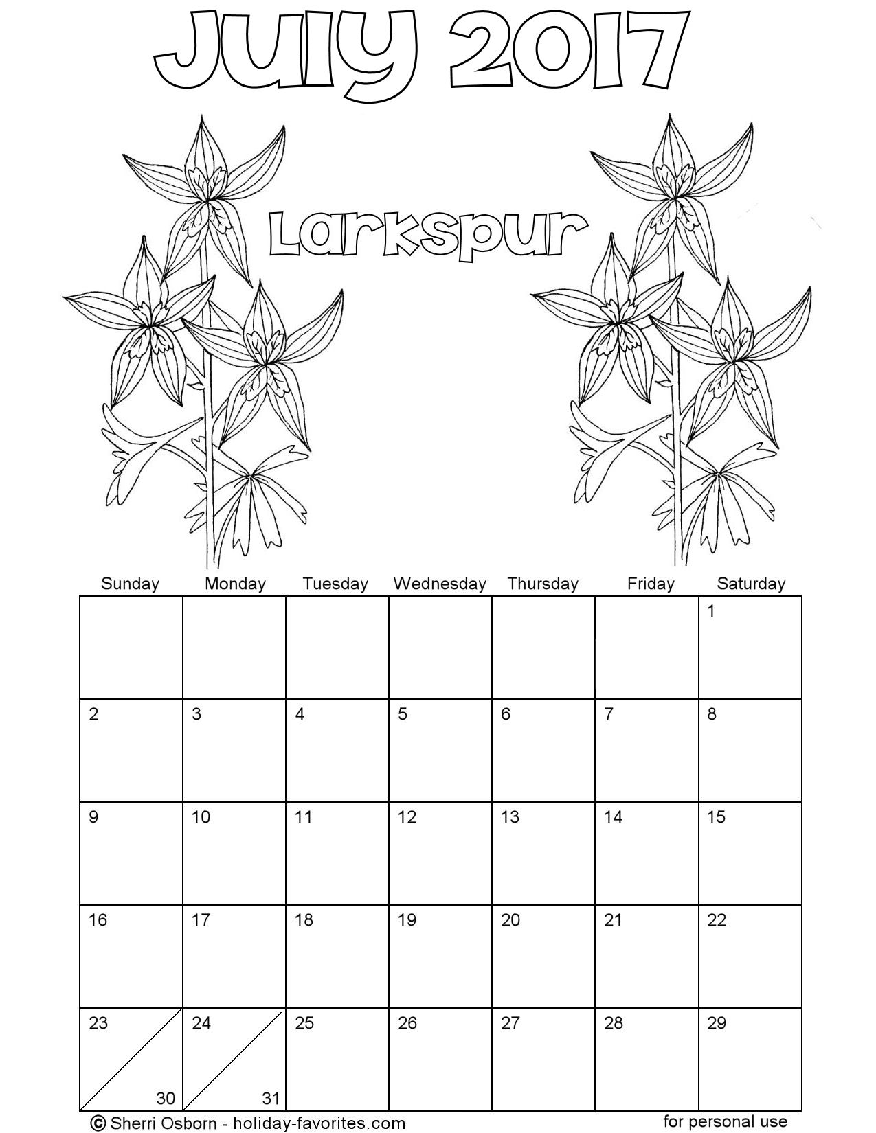 Printable July 2017 Firecracker Coloring Calendar