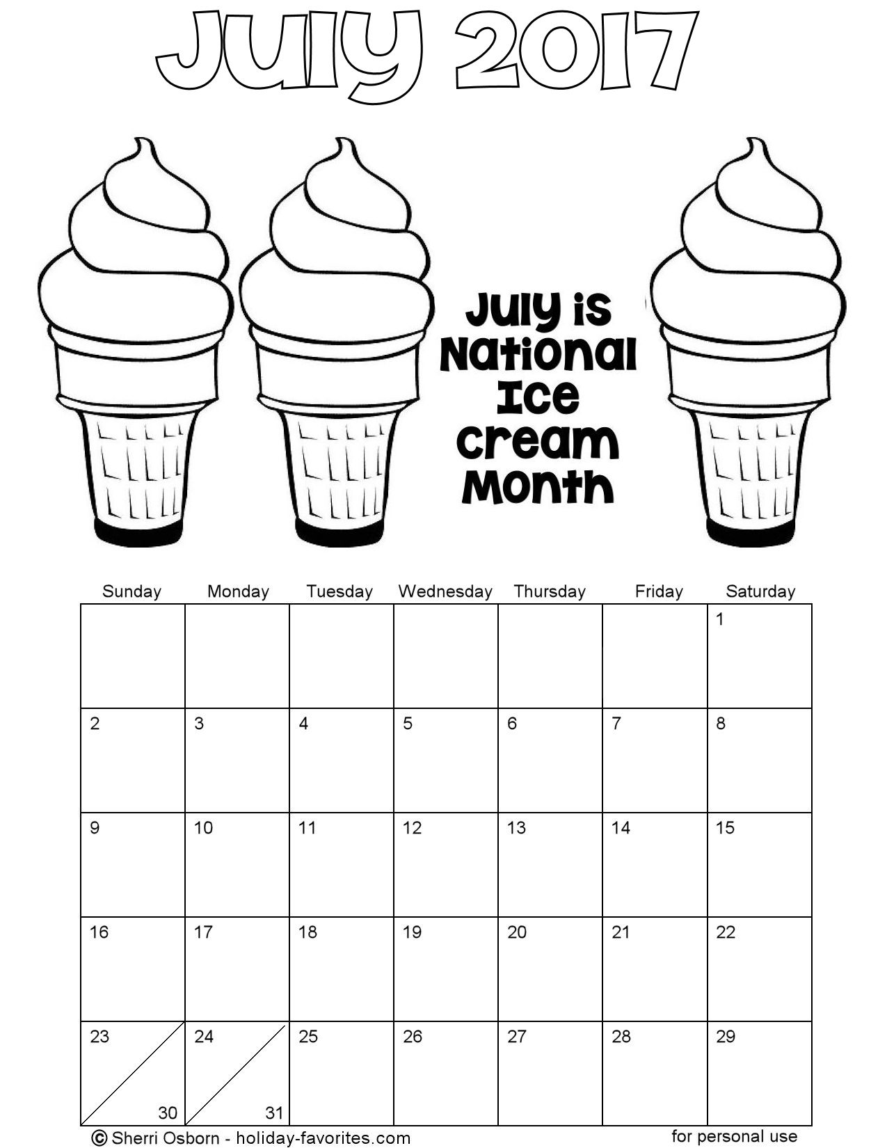 July 2017 Printable Ice Cream Coloring Calendar Page
