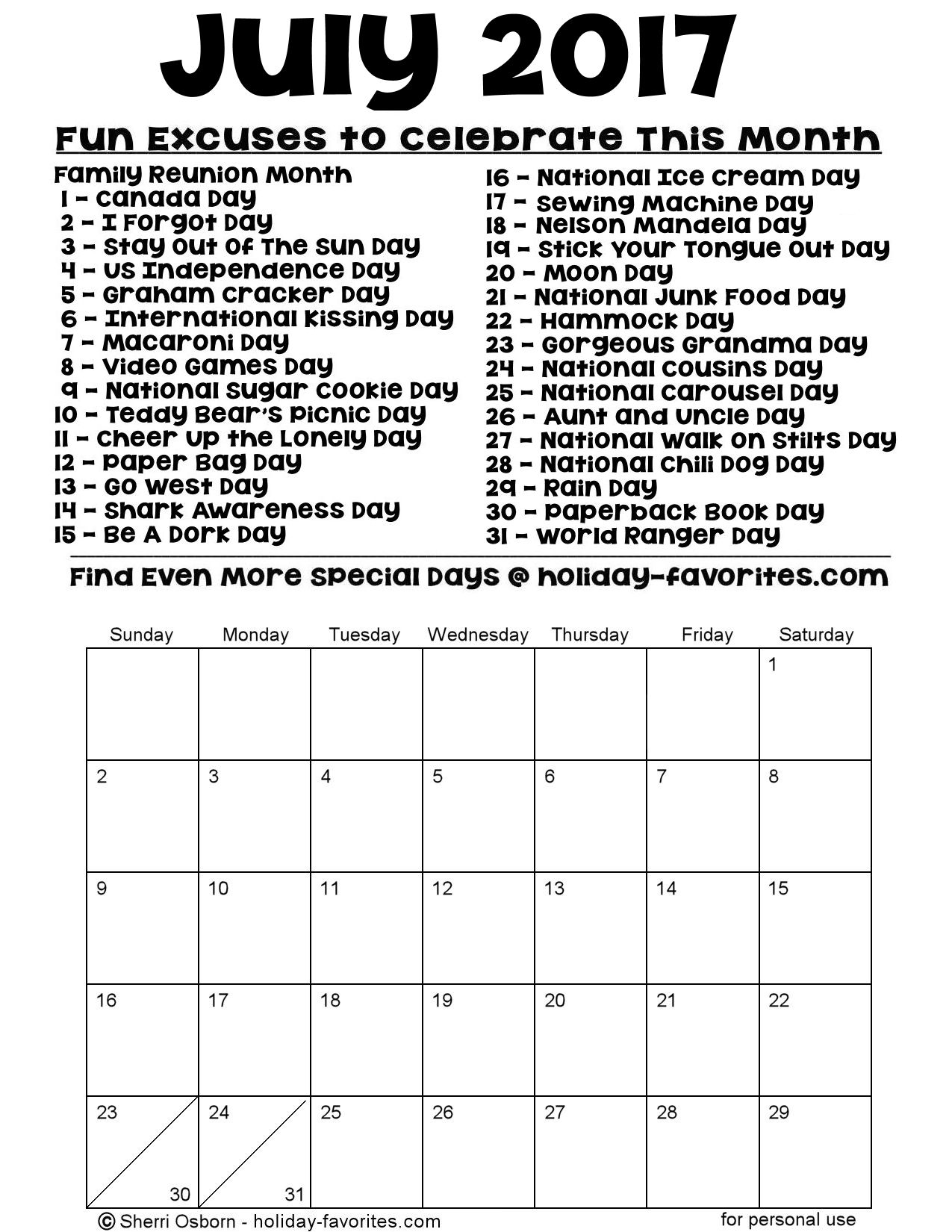 July 2017 Printable Special Days Calendar