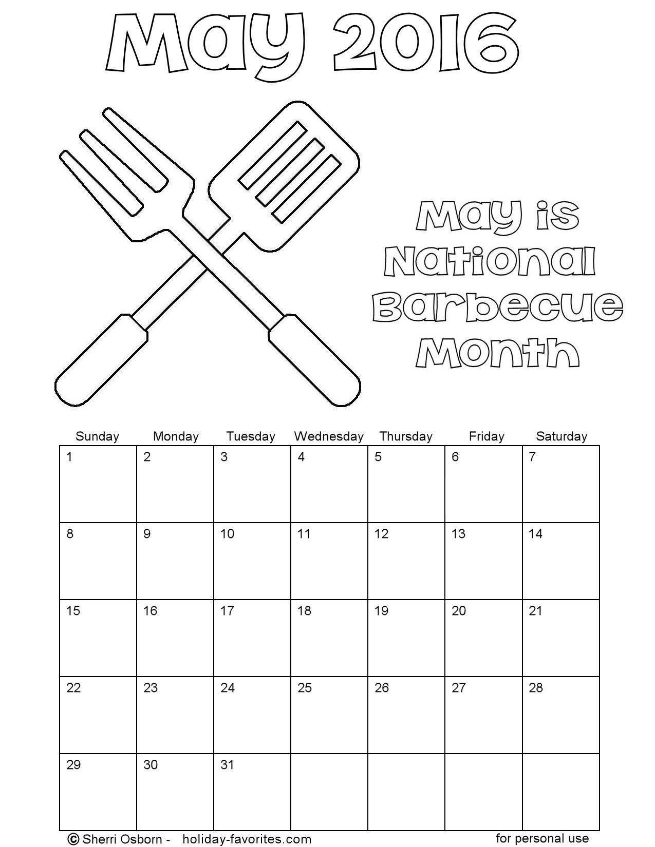 Printable May 2016 Bbq Color Calendar Holiday Favorites